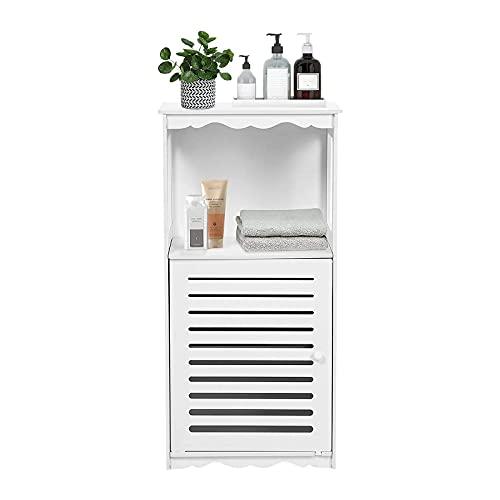 AYNEFY Badezimmerschrank Weiß Badkommode Eckschrank Klein Kommode Schmal Modern Badschrank mit 1 Fach und 1 Schrank für Badezimmer Wohnzimmer Schlafzimmer Flur, 38 x 28 x 80 cm