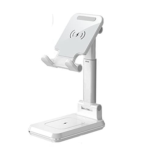 Escritorio del Cargador inalámbrico Stand 10W Teléfono Celular Soporte de Carga inalámbrico Soporte de Escritorio Ajustable Soporte para teléfono para iPhone 12/11 / Pro/XS/MAX/XR/X / 8,Blanco
