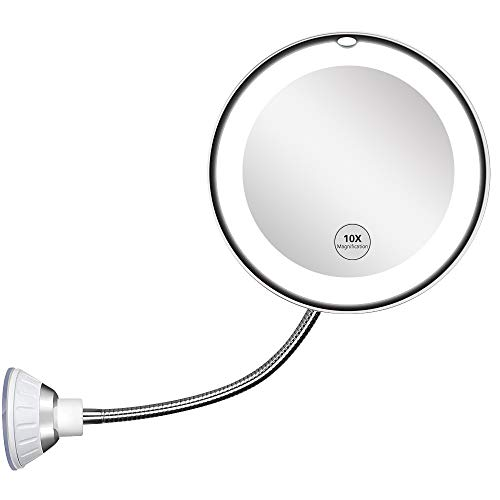 Updated 2020 Version 10X Magnifying Mirror With Light,Lighted 10X Magnifying Makeup Mirror -
