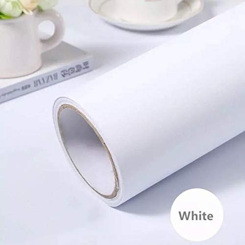 practicalWs White Self-Adhesive Wallpaper Film Stick Paper Easy to Apply Peel and Stick Wallpaper Stick Wallpaper Shelf Liner Table and Door Reform(15.7' x118') Decorative