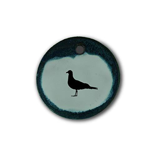 """Muy bonito colgante de cerámica """"gaviota"""" jaspeado en azul;"""