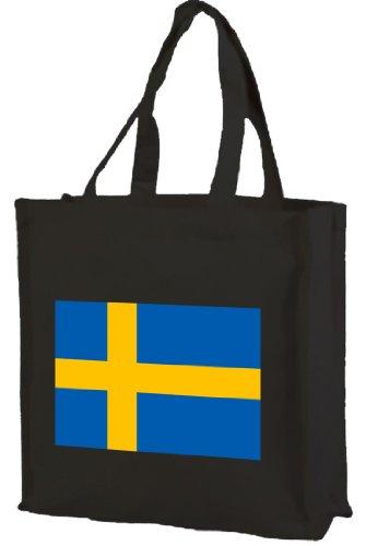 Schweden Sweden Fahne Bag, Einkaufstasche aus Baumwolle schwarz
