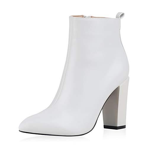 SCARPE VITA Damen High Heels Stiefeletten Blockabsatz Boots Leder-Optik Schuhe Basic Booties Absatzschuhe 185964 Weiss 37