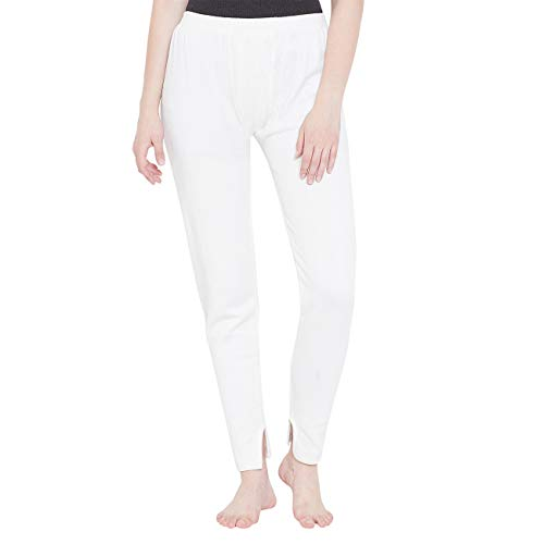 ZIMFIT Women's Cotton Thermal Lower/Legging (Small, White Lower)