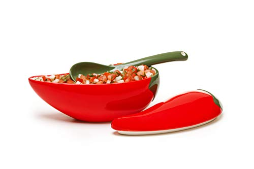 Red Chili Shaped Salsa Bowl with Spoon and Lid Great for Homemade Salsa and Pico De Gallo, Dips, Party foods, Condiments, Sauces and Toppings