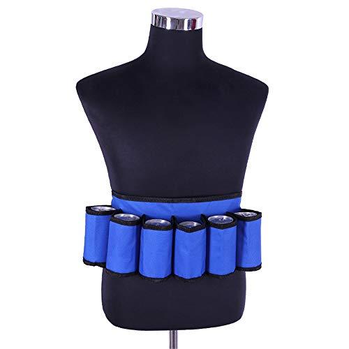 Blauer Biergürtel, 6er-Pack Bier Holster Taillentasche, Oxford Cloth Drink Belt mit verstellbarem Taillengurt Große Reißverschlusstasche für Bergsteiger Camping, Grillen, Angeln