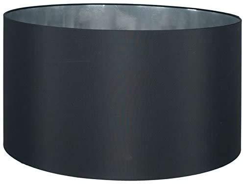Lampenschirm-Trommel-Zylinder-Form-Schwarz-Lounge Stil Satin-Ø 50cm für Stehleuchten oder Hängelampen