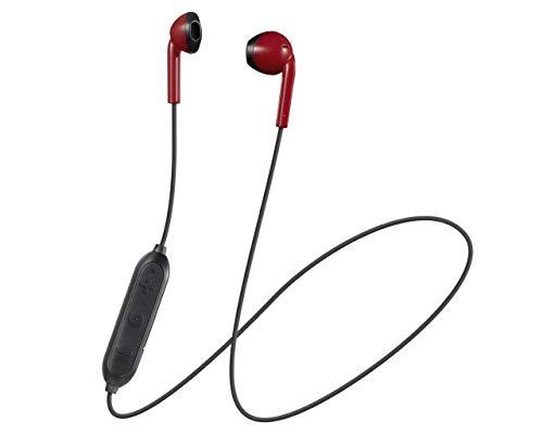 JVC HA-F19BT Auriculares Inalámbricos de Botón con Banda al Cuello . Cascos Bluetooth con 6,5 Horas de Autonomía con Control Remoto y Compatible con Asistentes de Voz. Color Rojo.