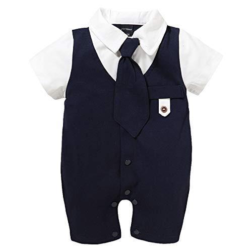Qiraoxy Neugeborene Krawatte Kurzarm Strampler Gentleman Typ Overall für 0-18M Baby Sommerkleidung
