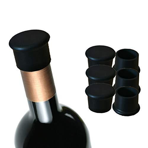 MiDanggu 6 tapas de botella negras reutilizables de silicona, mantener carne para vino, cerveza, champán, vino espumoso (negro)