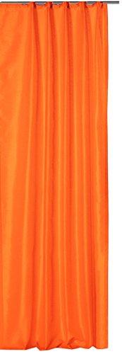 Haus und Deko Übergardine Vorhang Dekoschal Wildseiden Optik halbtransparent ca. 140x245 cm mit Kräuselband Gardine Moderne Unifarben #1136 orange hell