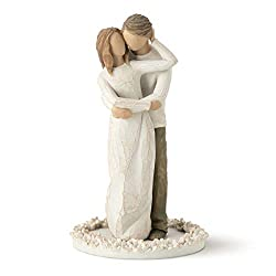 Sentiment: True partners in love and life written on enclosure card 6 Inch hand-painted resin figure with base of carved flowers for stability and beauty atop cake; paint and resin are lead-free and tested for food safety; ready to place atop a cake;...