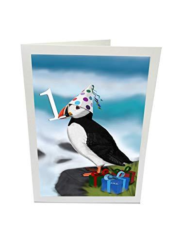 jz.birds Vogelmotiv Geburtstagskarte Glückwunschkarte zum 1. Geburtstag Papageitaucher am Meer Grußkarte mit Umschlag
