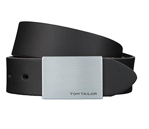 TOM TAILOR Gürtel Ledergürtel Herrengürtel 3,5 cm breit Schwarz 2509, Länge:90 cm, Farbe:Schwarz