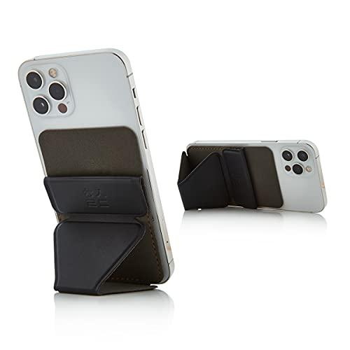 Healing Shield | Selbstklebendes Handy-Kartenhalter, magnetisches Portemonnaie & Ständer, kompatibel mit KFZ-Halterung, schmaler Schnitt, faltbarer Kreditkartenhalter (6 Farben) (schwarz)