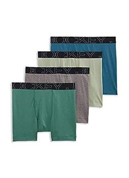 Jockey Men s Underwear ActiveBlend Boxer Brief - 4 Pack Antique Azure/Safari Green/Willow/Cinder Heather m