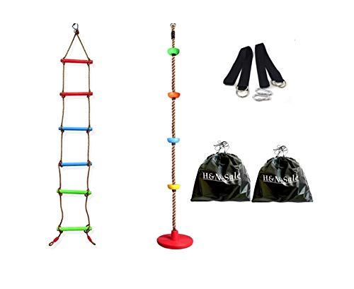 (Set of 2) Climbing Rope Tree Swing and Climbing Rope Ladder, with Platforms and Disc Swings Seat -...
