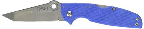 Cold Steel Unisex– Erwachsene, Taschenmesser, Khan Lockback, Klinge: 7.6 cm, Tanto, Blau, Klappmesser, Daumen Pin, Satin Finish, Mehrfarbig, normal