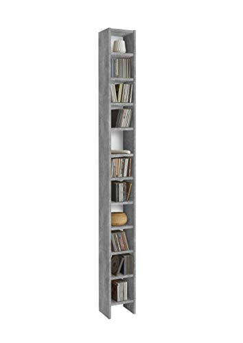 AVANTI TRENDSTORE - Duno - Scaffale in Legno Laminato con 11 Ripiani, Disponibile in Diversi Colori, Dimensioni Lap 19,5x185x16,5 cm (Grigio-Bianco)