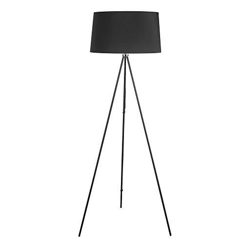HOMCOM Stehlampe Tripod Schlafzimmer Standleuchte Stehleuchte 40 W Skandinavisch Stoff + Metall schwarz ∅48 x 156 cm