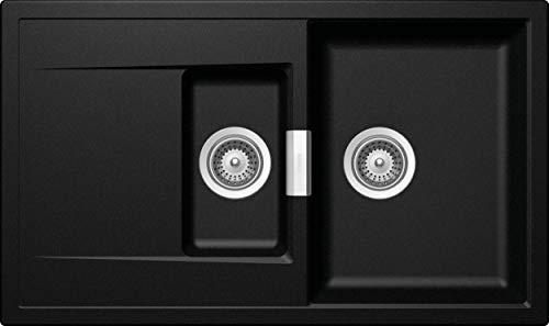 SCHOCK hochwertige Küchenspüle mit 1½ Becken 86 x 51 cm Mono D-150 Magma - CRISTADUR schwarze Spüle mit Abtropffläche ab 60 cm Unterschrank-Breite