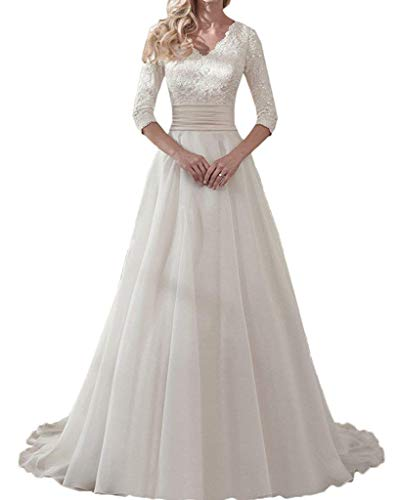 Meganbridal Lace Chiffon A Line V Neck Wedding Dresses for Women Brides with 3/4 Sleeve Bridal Ball Gowns Ivory
