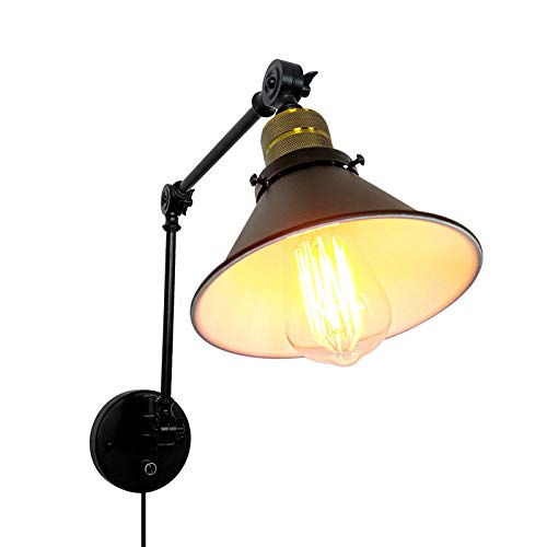 LXHK Aplique de Pared de Brazo Largo Retro, Aplique Pared con Enchufe y Interruptor, Lámpara de Pared Vintage Retro de Diseño Industrial, Aplique Giratorio Pared para Dormitorio Escaleras,Eu
