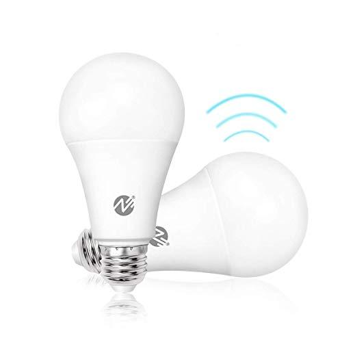 Motion Sensor Light Bulbs Dusk to Dawn LED Light Bulbs Radar Motion Detector Light 100 Watt Equivalent E26 Base A19 Indoor Outdoor Lighting Lamp 12W Soft White 6500K 2 Pack