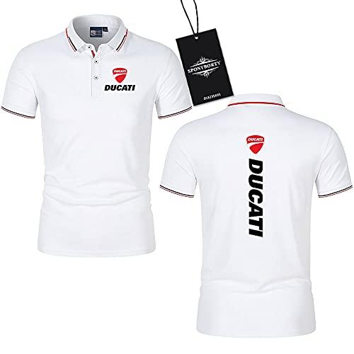 MAUXpIAO Polo Hemden Revers Einfach Du-CA.ti Drucken Kurzärmelig Tee Oben Männer Frauen Baumwolle Beiläufig Arbeit Junge/Weiß/L
