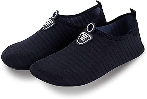 JOK Chaussures de plage pour homme et femme - Séchage rapide - Semelle souple antidérapante - Chaussures de sport aquatique - Chaussettes de yoga respirantes - Noir - 3316