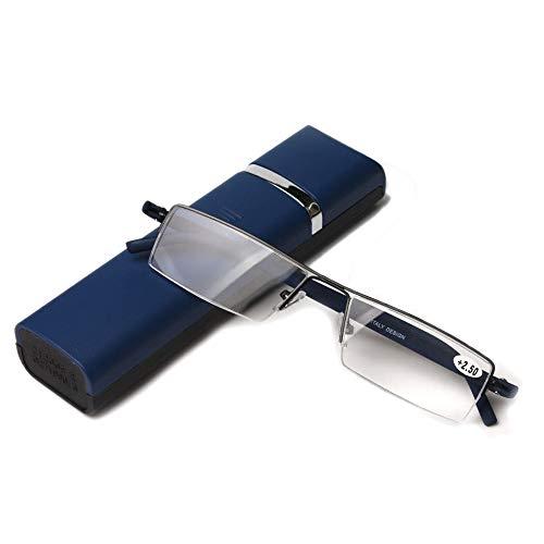 超軽量弾性tr90フレーム老眼鏡 おしゃれリーディンググラス携帯用 ケース付 度数「+1.0〜+3.5」 (+1.5, ブルー)