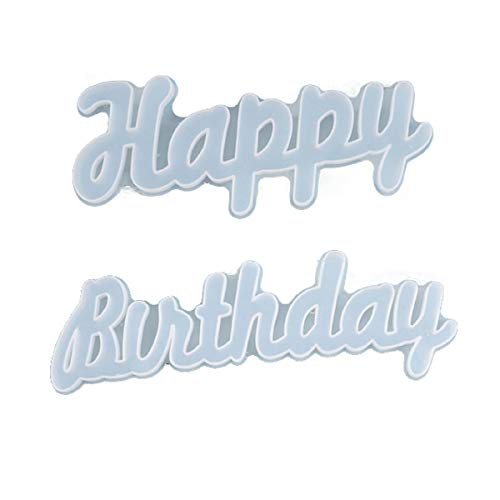 Yalulu 2 Stück Happy Birthday Epoxidharz Formen, Gießform Silikonform Buchstabe Silikon Harzform Schmuck Silikonform Harz Casting Formen Für DIY Tischdekoration, Geschenke