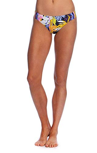 Trina Turk Women's Shirred Side Hipster Pant Bikini Swimsuit Bottom, Black//Bali Harbor Floral, 6