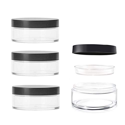 AKOAK Capacity 30 ml(1 oz) Empty Reusable Plastic Loose Powder Compact Container DIY Makeup Powder Case with Sifter and Lined Screw Lid,Pack of 4