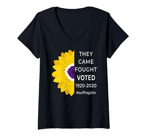 Mujer Disfraz de Sufragette para mujer Camiseta Cuello V