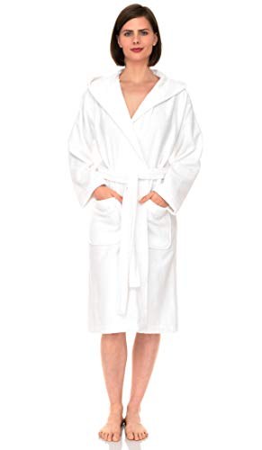 TowelSelections Women's Hooded Robe, Cotton Terry Cloth Bathrobe Medium White