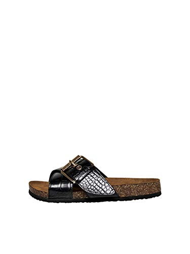ONLY ONLMATHILDA PU Croc Slip ON, schwarz(blackclouddancer), Gr. 38