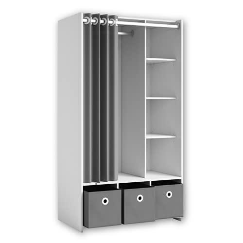 Stella Trading JENKE Kleiderschrank Weiß mit 3 Aufbewahrungsboxen & Stoffvorhang - Vielseitiger Allzweckschrank mit cleverer Inneneinteilung - 100 x 180 x 50 cm (B/H/T)