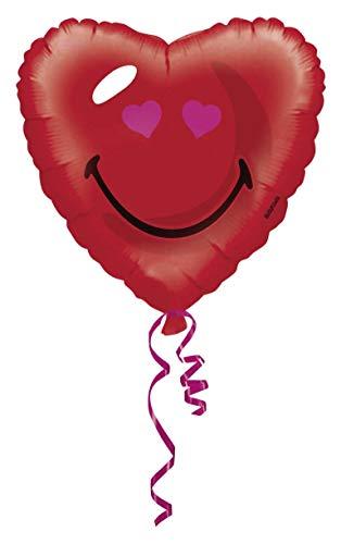 amscan - 2744401 - Standard Hx Smiley Red Heart - Hélium S50 sous Sachet - 43 cm