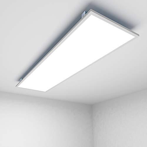 OUBO Deckenlampe Deckenleuchte LED Panel 120x30cm Warmweiß / 48W/ 4500lm / 3000K / Weißrahmen Flurlampe Decke Wandleuchte Schlafzimmer, inkl. Trafo und Anbauwinkel