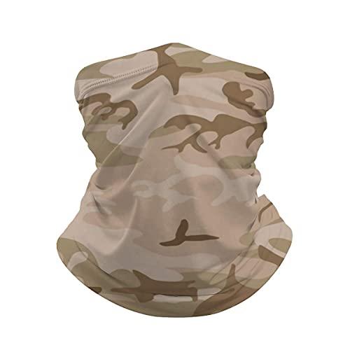 asdew987 Bronceado Verde Desierto Militar Camuflaje Cuello Polaina Máscara Cara Bandana Calentador de Cuello Frío a prueba de viento Ligero Hielo Bufanda de seda para Hombres Mujeres