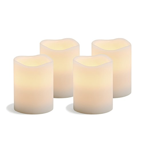 Flameless Pillar Candles with Remote - 3 Inch Diameter by 4 Inch Tall, Real Wax, Warm White Flickering LED Light, Battery Operated, Daily Timer Feature - Set of 4