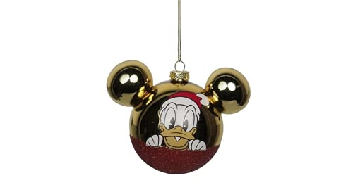 Selezione Cartoleria Varzi dal 1956 - Addobbo Albero Natale Palla Vetro Paperino Disney con orecchie