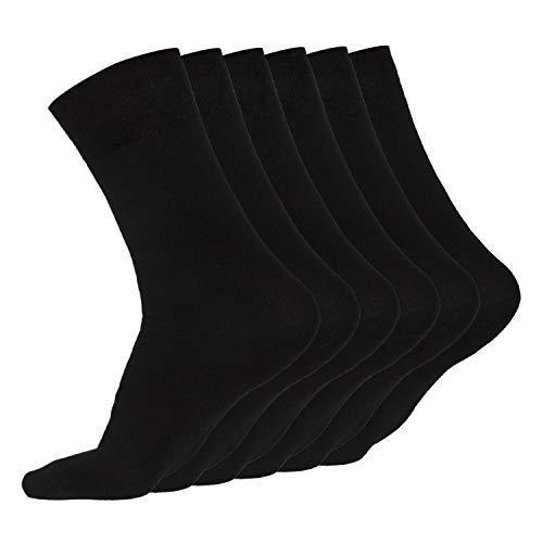 JARAQ Bambus Socken 6 Paar Schwarz   Weiches Material ohne Naht   Atmungsaktive Strümpfe   Unisex Damen & Herren 43-46