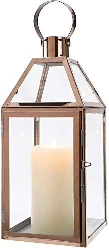 JHY Design Rose Gold Decorative Lanterns 34cm High Stainless Steel Candle Lanterns with Tempered Glass for Indoor Outdoor Events Parities and Weddings Valentine's Day