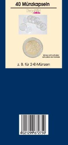 Prophila, 40 cápsulas de Monedas de 26 mm de diámetro Interno para 2 Monedas de Euro