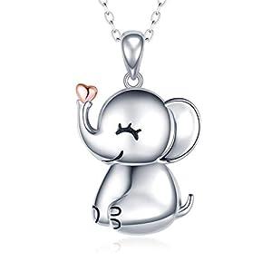 MANBU 925 Sterling Silver Cute Necklace - Luck Elephant Pendant Rose Gold Heart Animal Jewelry Women Girls Ladies Kids
