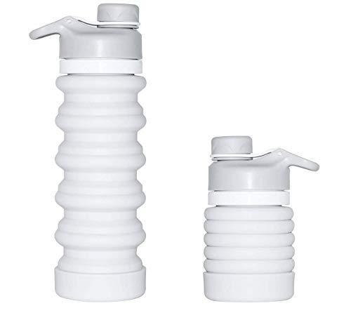 SOULBEST Botella de Agua Plegable Botella de Agua Plegable a Prueba de Fugas Botella de Bebida Plegable de Silicona portátil para Deporte Senderismo Ciclismo Acampada BPA Gratis 550 ml