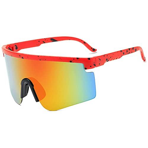 XDOUBAO Gafas de sol Hombre Lady Gafas de sol deportes Equitación Gafas de sol Gafas de sol-Caja roja Mercurio rojo
