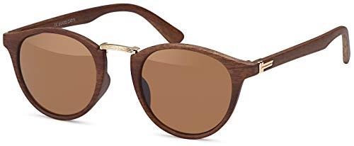 styleBREAKER Sonnenbrille in Holz Optik und runden Gläsern, Kunststoff-Metall-Gestell, Unisex 09020083, Farbe:Gestell Braun-Gold/Glas Braun getönt